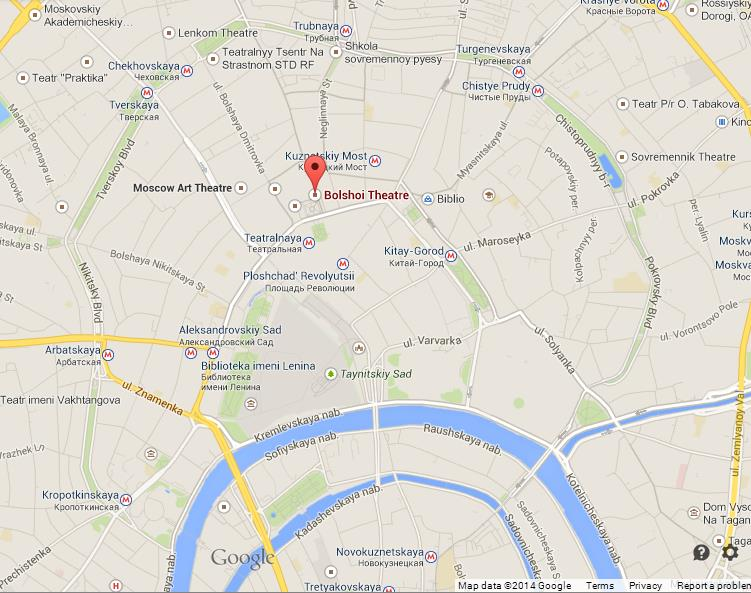 Bolshoi theatre on map of moscow world easy guides where is bolshoi theatre on map of moscow gumiabroncs Images