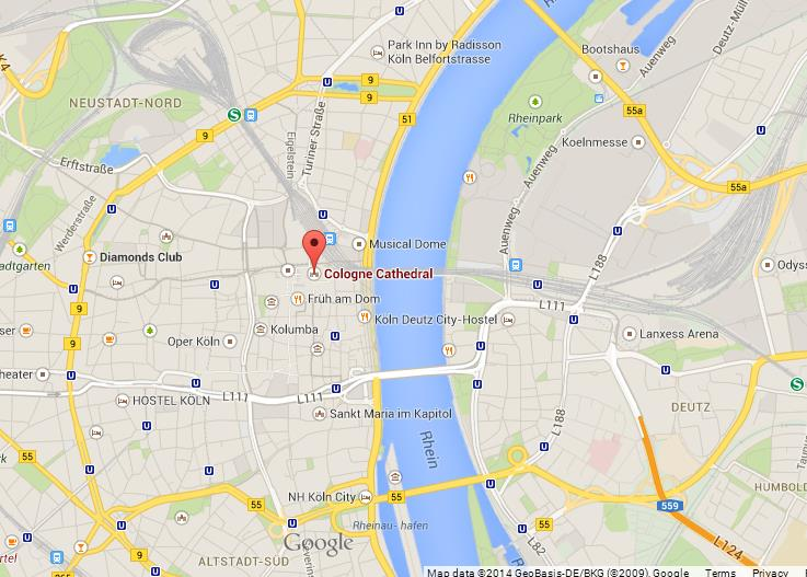 Cologne Cathedral on Map of Cologne World Easy Guides