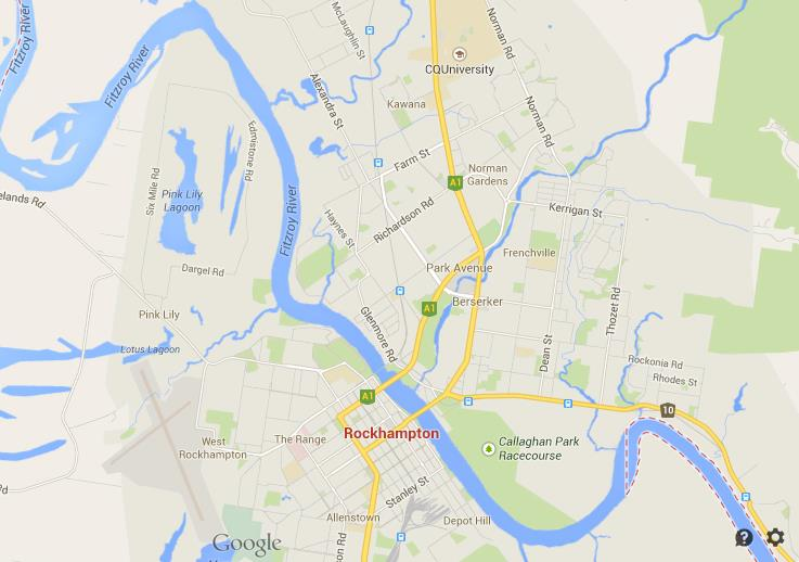 Map Rockhampton Queensland World Easy Guides