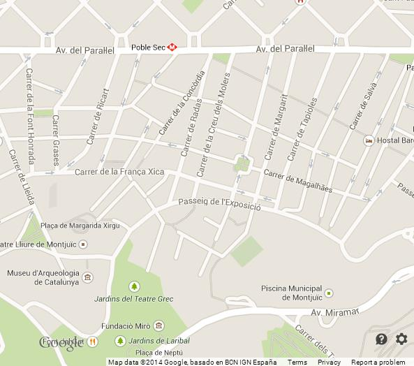 Map Of Poble Sec Barcelona