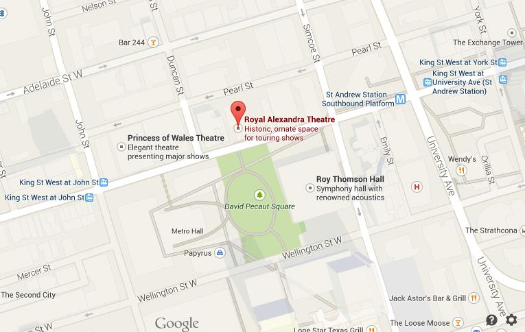 Map Of Royal Alexandra Theatre Toronto World Easy Guides