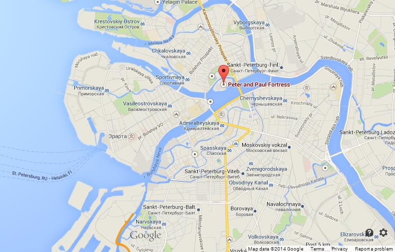 Peter and Paul Fortress on Map of St Petersburg