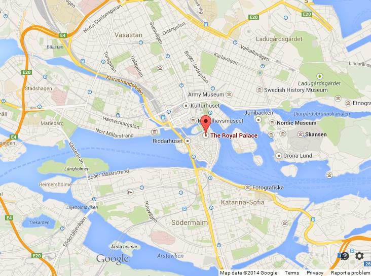 Royal Palace on Map of Stockholm on