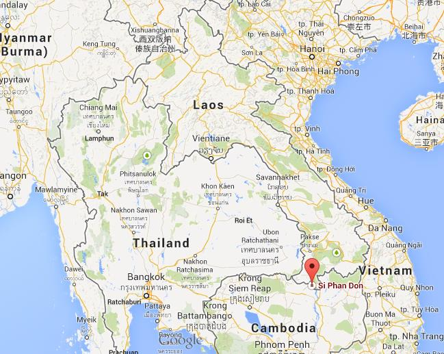 Si Phan Don on map of Laos