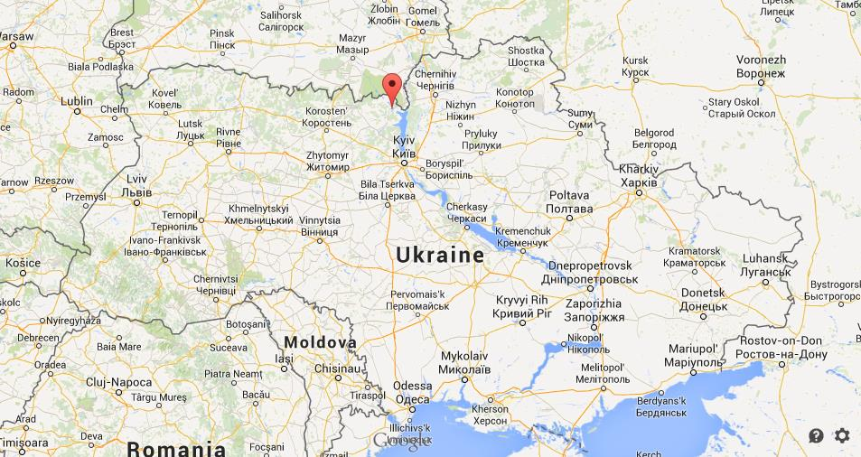 Where is Chernobyl on map of Ukraine on
