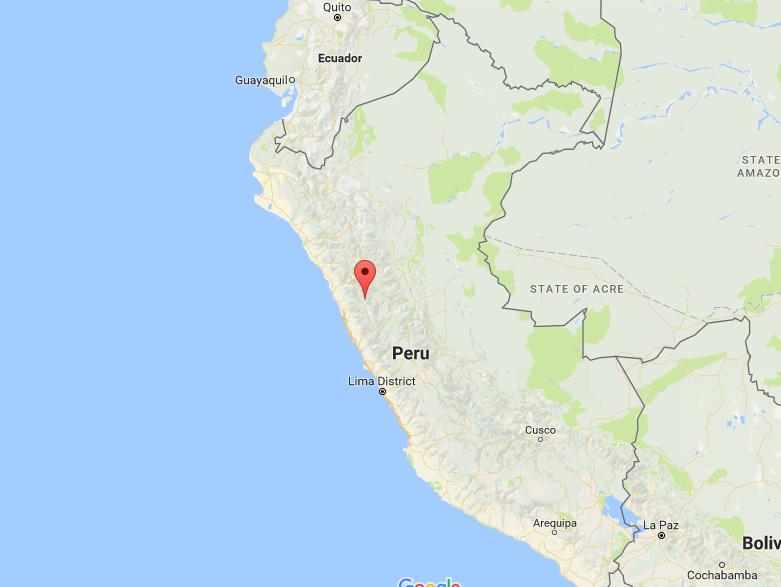 Where is Cordillera Blanca on map Peru