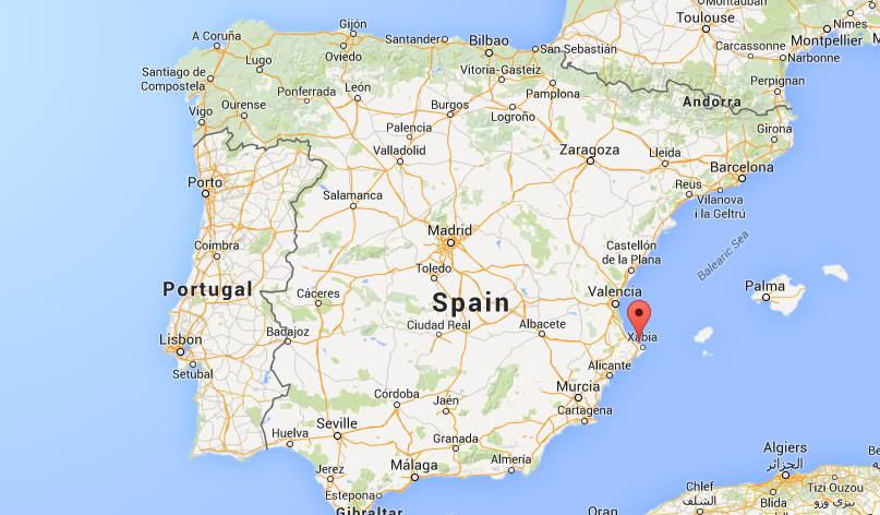 location Denia on map Spain