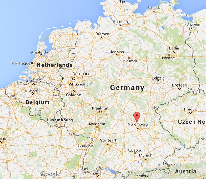 where is erlangen on map germany