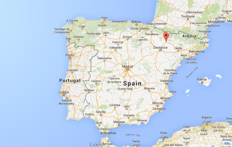 location Huesca on map of ...