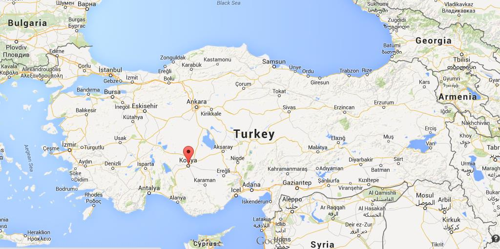 Where is Konya on map Turkey