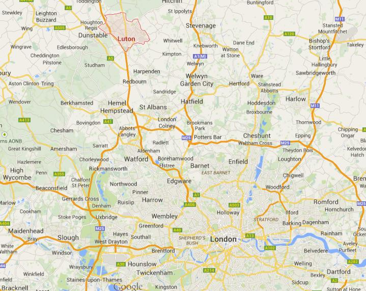 Where is Luton on map London region World Easy Guides