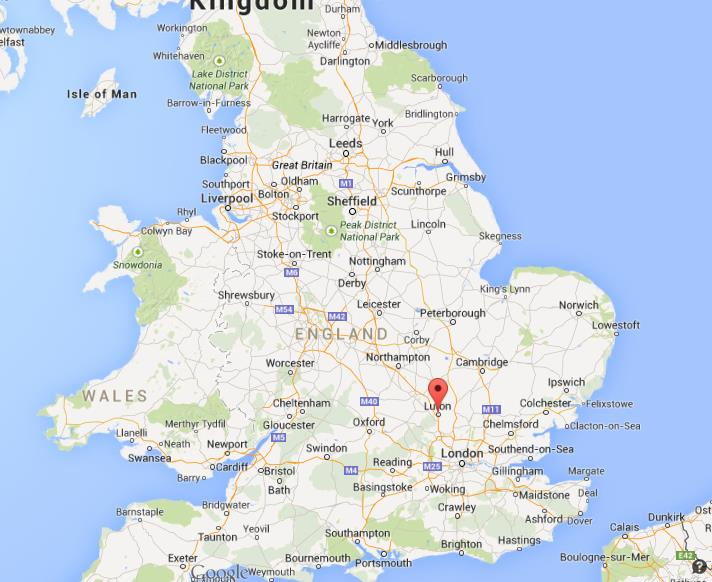 where is luton on map of england