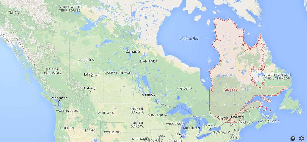 Where is Quebec on map of Canada