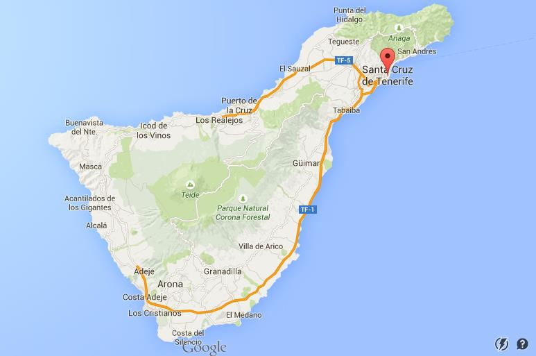 Where Is Santa Cruz On Map Of Tenerife