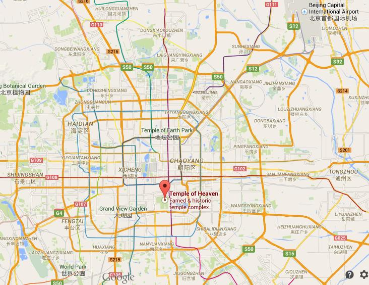Where is temple of heaven on map of beijing world easy guides