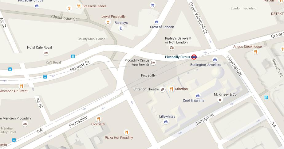 map of piccadilly circus