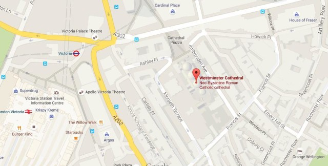 Map Of Westminster Cathedral X on Kensington Palace Gardens Map