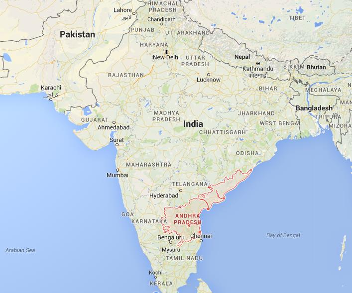 Where is Andhra Pradesh on map India