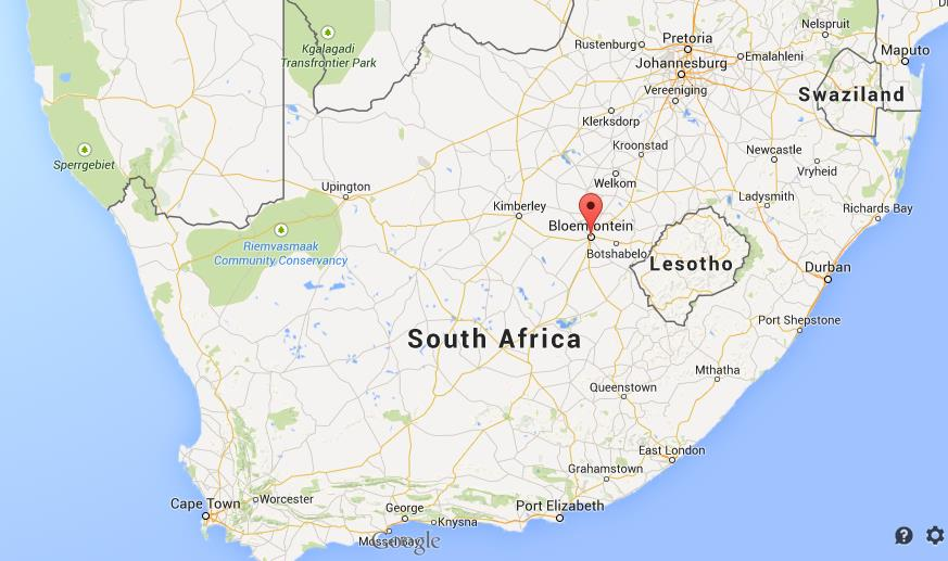 Where is Bloemfontein map South Africa