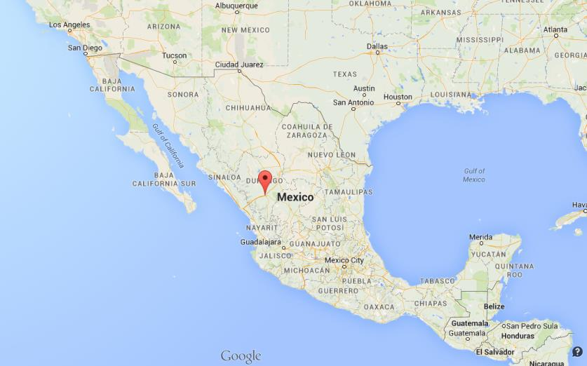 Where is Durango on map of Mexico on