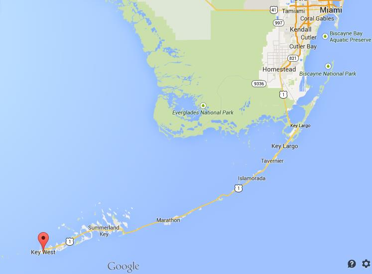 Where is Key West on map of Florida Keys
