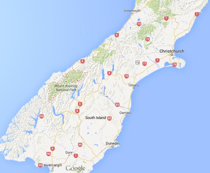 New Zealand Road Map South Island.Where Is Mount Aspiring National Park On Map New Zealand South Island