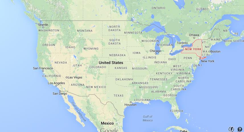 where is new york state on map usa