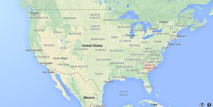 Where is South Carolina on map of USA