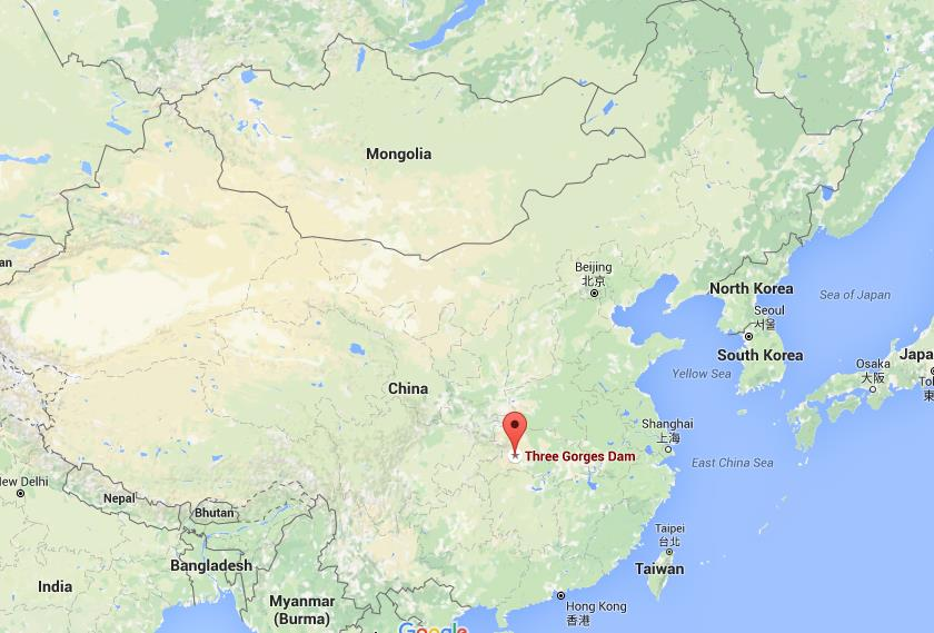 where is three gorges dam on map china