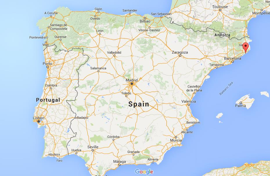 Where is Tossa de Mar on map Spain
