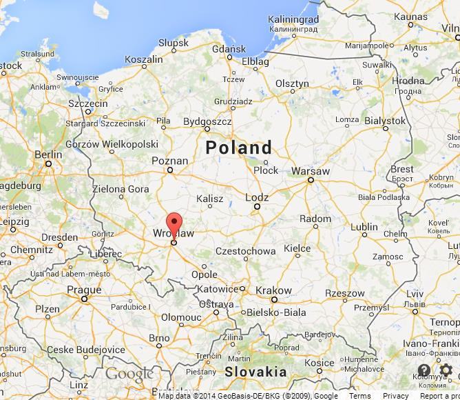 Wroclaw on Map of Poland World Easy Guides