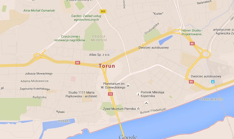 Map of Torun World Easy Guides
