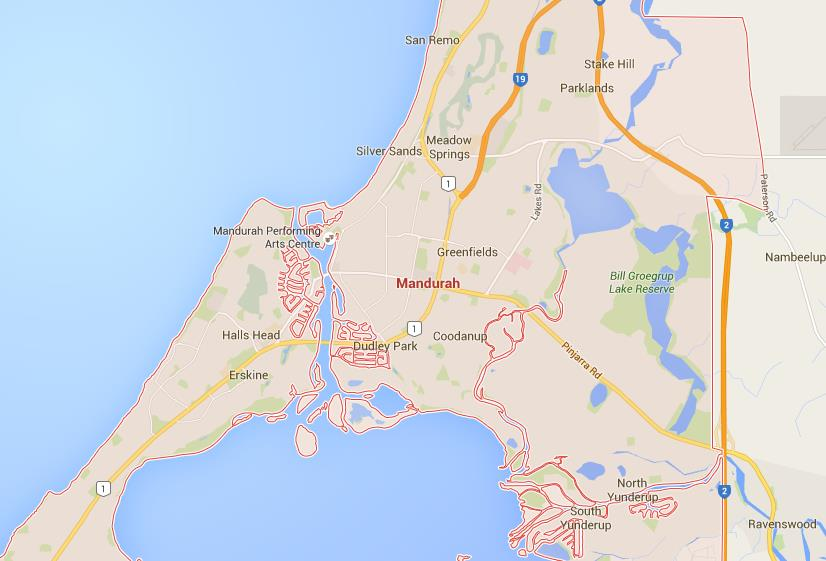 map of mandurah