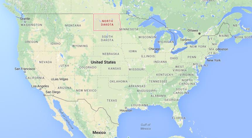 Where is North Dakota on map USA on
