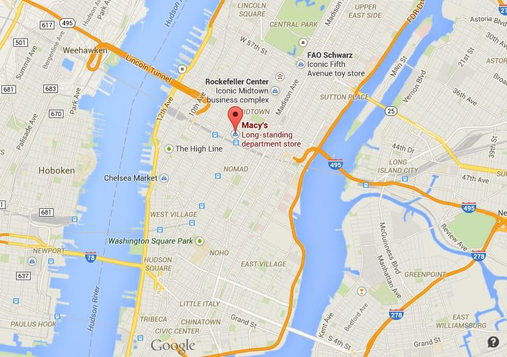 Where is Macy's on map of Manhattan