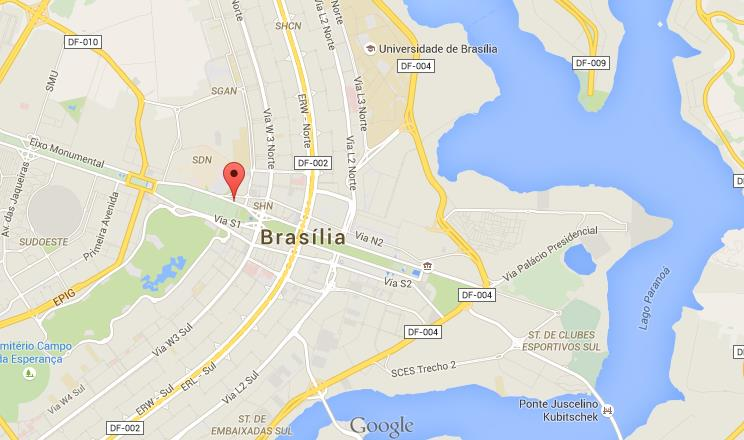 Where is Monumental Axis on map of Brasilia World Easy Guides