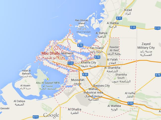 Map of Abu Dhabi World Easy Guides