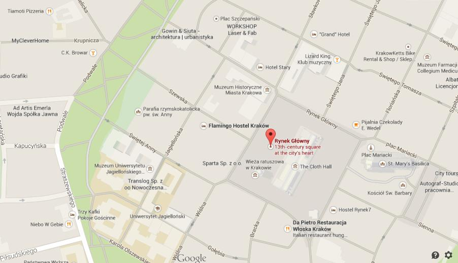 Map of Old Market Square Krakow  World Easy Guides