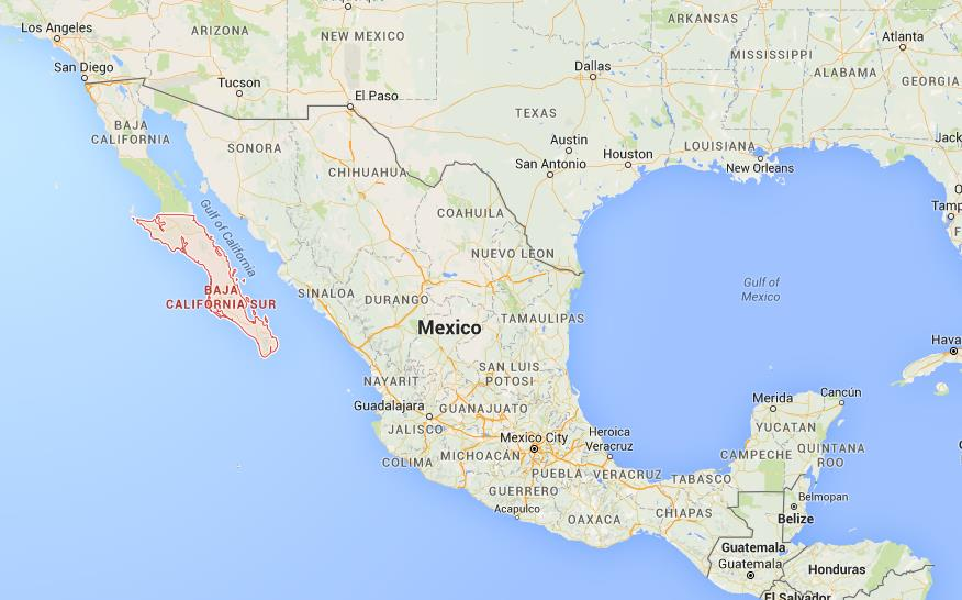 Where is Baja California Sur on map Mexico