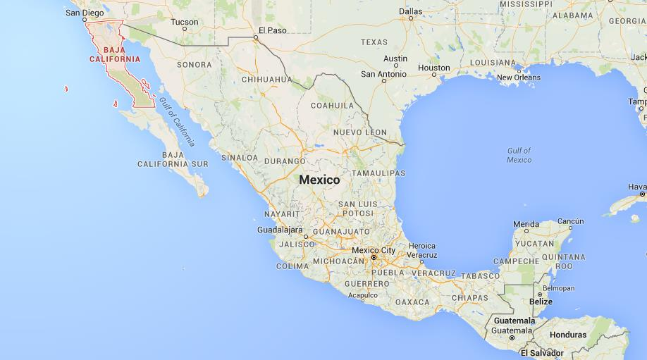 Where is Baja California on map Mexico