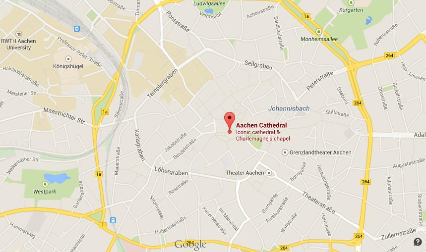 Where is Cathedral on map of Aachen World Easy Guides