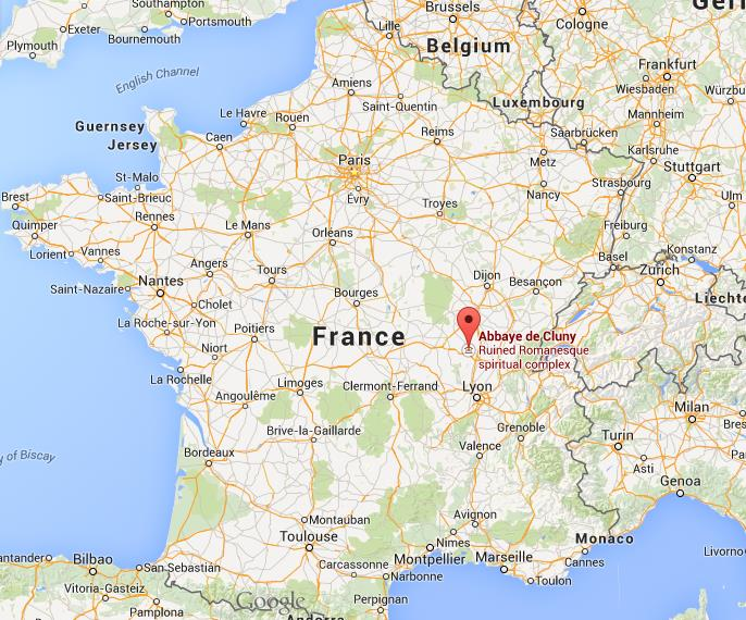 Where is Cluny Abbey on map France World Easy Guides