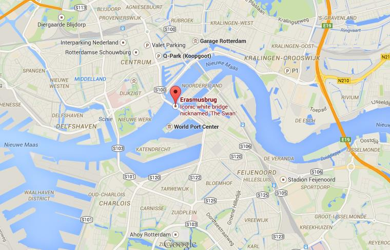 Where is Erasmus Bridge on map Rotterdam