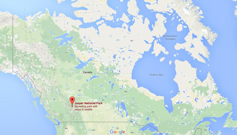 Where is Jasper National Park on map Canada