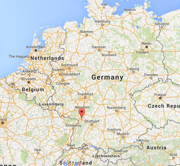 where is karlsruhe on map germany