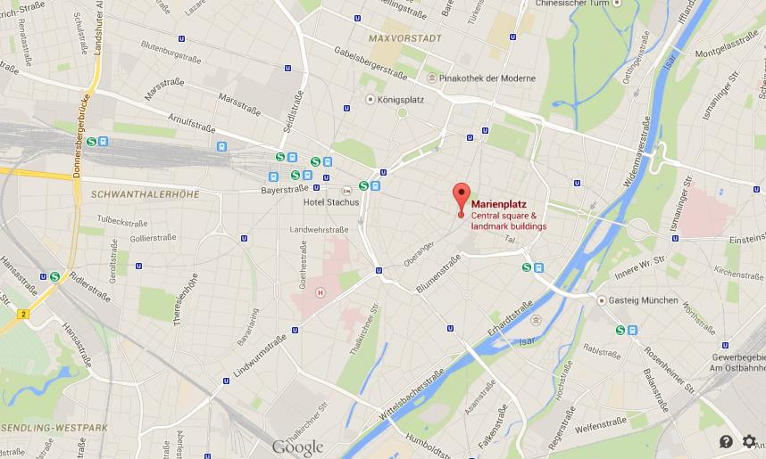 Where is Marienplatz on map of Munich