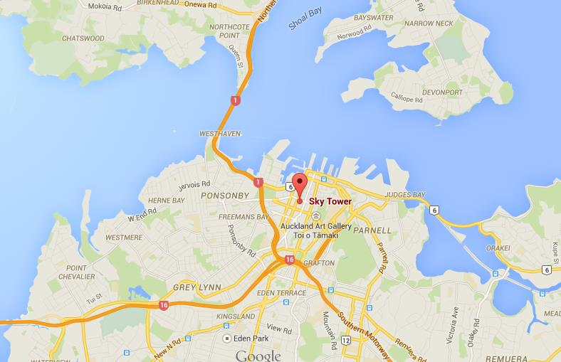 where is sky tower on map of auckland