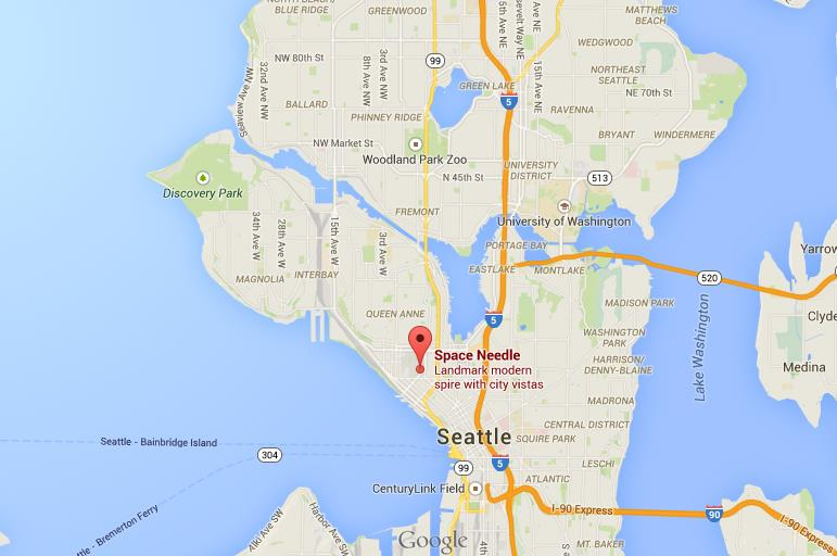 Where is Space Needle on map Seattle