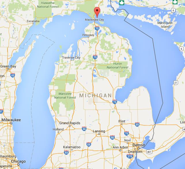 Where is Mackinac Island on map Michigan