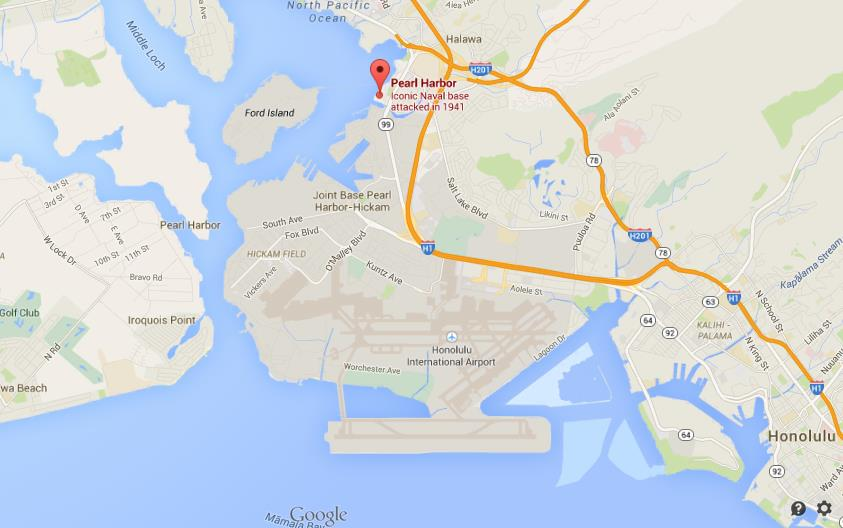 Where is Pearl Harbour on map Honolulu on